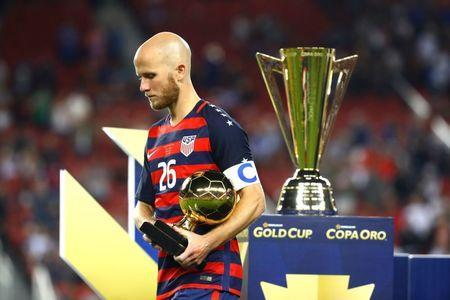 Jul 26, 2017; Santa Clara, CA, USA; United States midfielder Michael Bradley holds th trophy for best player of the tournament after defeating Jamaica during the CONCACAF Gold Cup final at Levi's Stadium. Mandatory Credit: Mark J. Rebilas-USA TODAY Sports