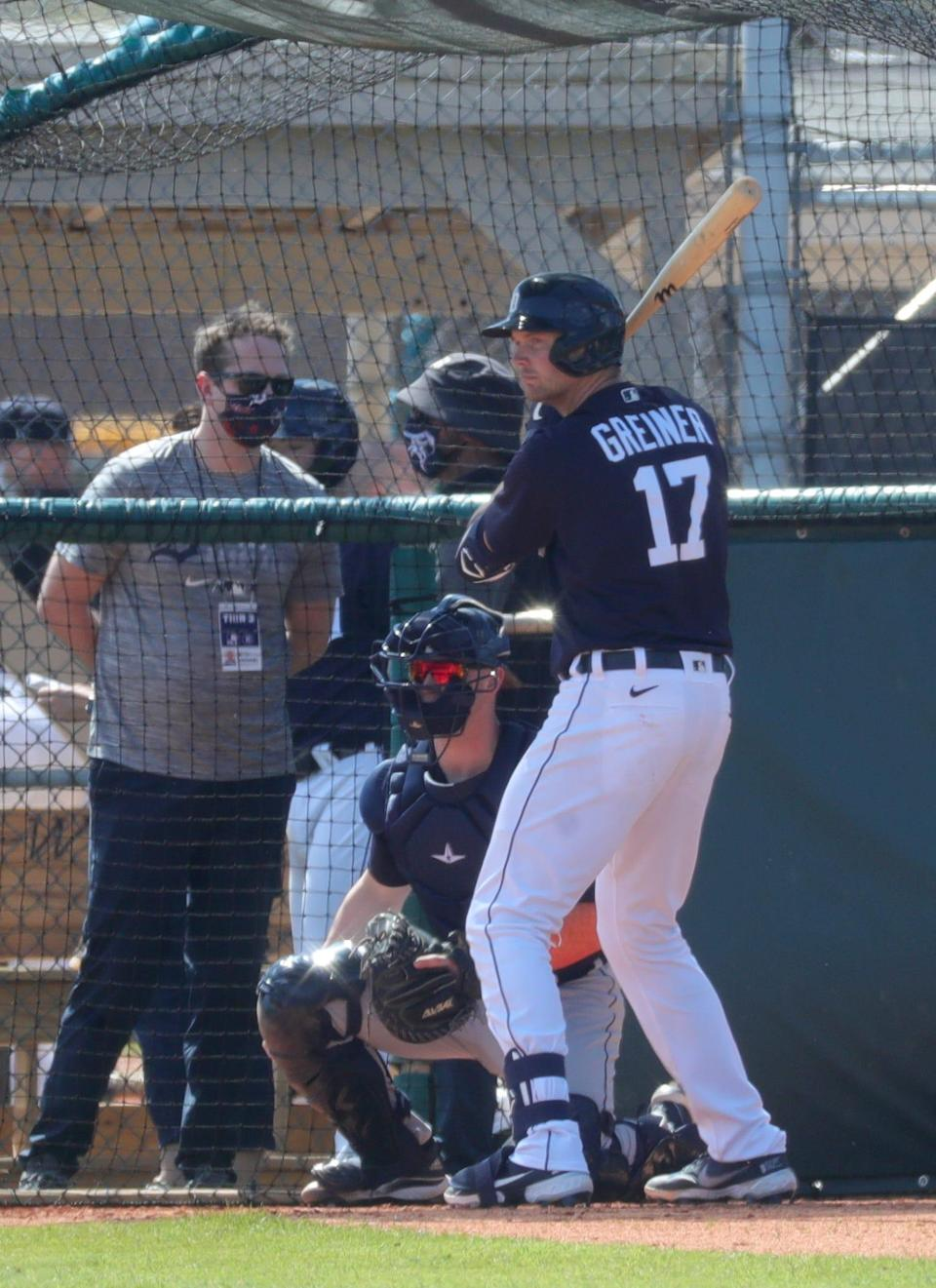 Detroit Tigers catcher Grayson Greiner takes batting practice  Tuesday, Feb. 23, 2021, on the Tiger Town practice fields at Joker Marchant Stadium in Lakeland, Florida.