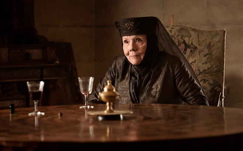 """Diana Rigg as Olenna Tyrell in a scene from """"Game of Thrones. - Obit Diana Rigg/HBO"""