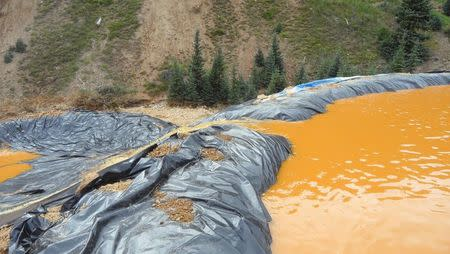 Yellow mine waste water from the Gold King Mine collects in a holding pool in San Juan County, Colorado, is seen in this picture released by the Environmental Protection Agency (EPA) taken August 7, 2015. REUTERS/EPA/Handout