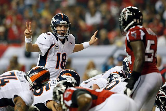 ATLANTA, GA - SEPTEMBER 17: Quarterback Peyton Manning #18 of the Denver Broncos calls a play against the Atlanta Falcons during a game at the Georgia Dome on September 17, 2012 in Atlanta, Georgia. (Photo by Kevin C. Cox/Getty Images)
