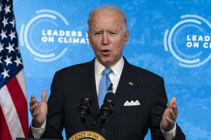 President Joe Biden speaks to the virtual Leaders Summit on Climate, from the East Room of the White House, Friday, April 23, 2021, in Washington. (AP Photo/Evan Vucci)