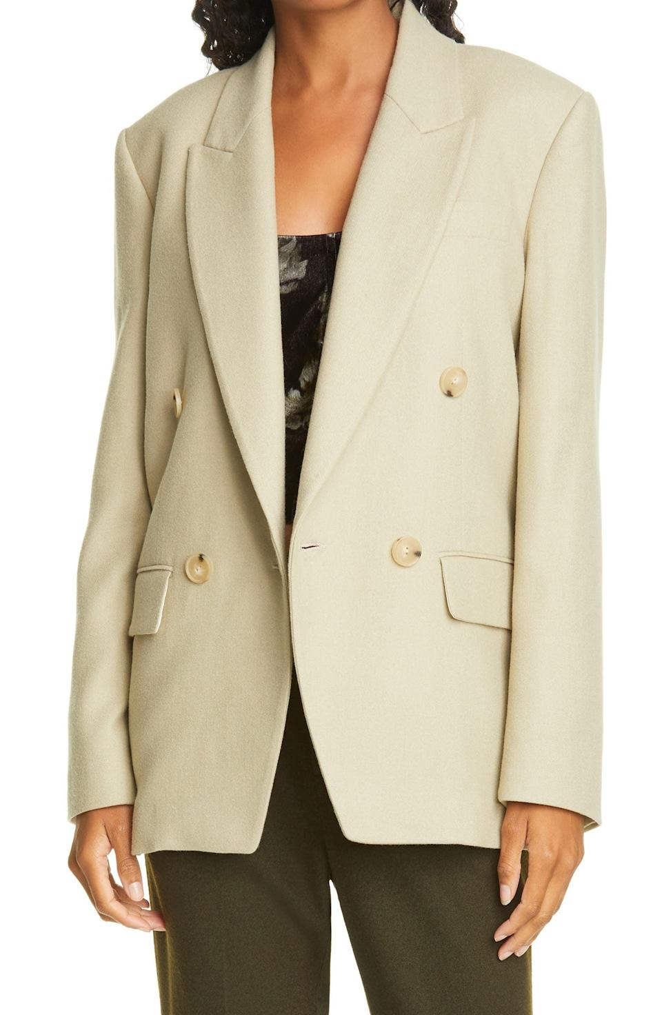 <p>The color and profile of this <span>Vince Double Breasted Flannel Blazer</span> ($254, originally $565) make it fresh and modern.</p>