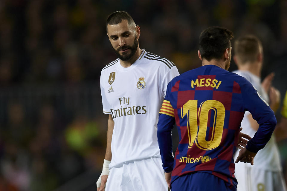 Lionel Messi of Barcelona and Karim Benzema of Real Madrid  greets during the Liga match between FC Barcelona and Real Madrid CF at Camp Nou on October 26, 2019 in Barcelona, Spain. (Photo by Jose Breton/Pics Action/NurPhoto via Getty Images)
