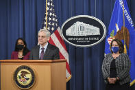 Attorney General Merrick Garland speaks at the Department of Justice in Washington, Monday, April 26, 2021, as associate Attorney General Vanita Gupta and Deputy Attorney General Lisa Monaco. listen. The Justice Department is opening a sweeping probe into policing in Louisville after the March 2020 death of Breonna Taylor, who was shot to death by police during a raid at her home. (Mandel Ngan/Pool via AP)