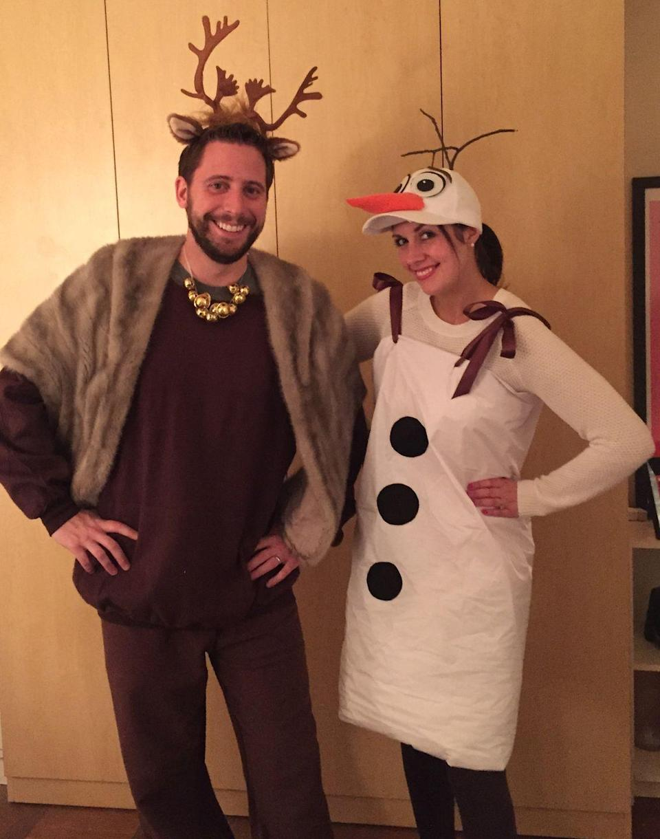 """<p>Do you want to be a snowman for Halloween? Try out the Olaf and Swen duo from the movie <em>Frozen</em>! These new-sew ensembles combine felt, a table runner, and a lot of crazy glue.</p><p><a class=""""link rapid-noclick-resp"""" href=""""https://www.amazon.com/Disney-Womens-Frozen-Hoodie-Union/dp/B0152W4W7C?tag=syn-yahoo-20&ascsubtag=%5Bartid%7C10072.g.27868801%5Bsrc%7Cyahoo-us"""" rel=""""nofollow noopener"""" target=""""_blank"""" data-ylk=""""slk:SHOP SIMILAR"""">SHOP SIMILAR</a></p>"""
