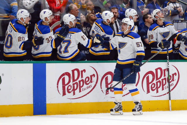 St. Louis Blues left wing David Perron (57) is congratulated by teammates on the bench after scoring a goal against the Dallas Stars during the first period of an NHL hockey game in Dallas, Friday, Feb. 21, 2020. (AP Photo/Ray Carlin)