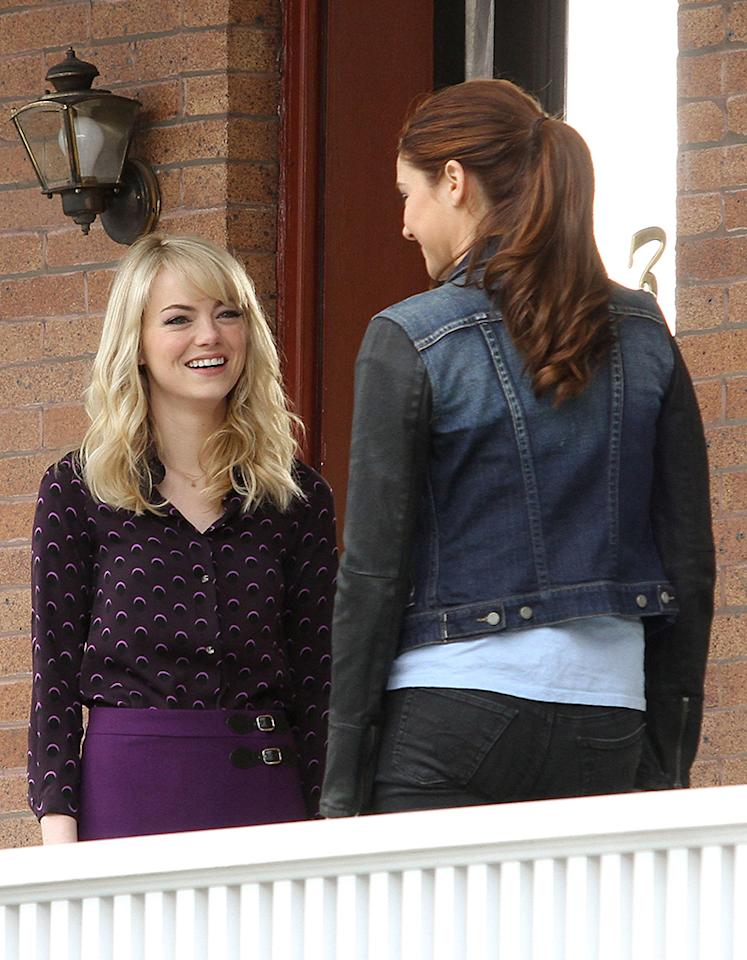 Emma Stone and Shailene Woodley spotted shooting 'The Amazing Spider Man 2' in Brooklyn, NYC.