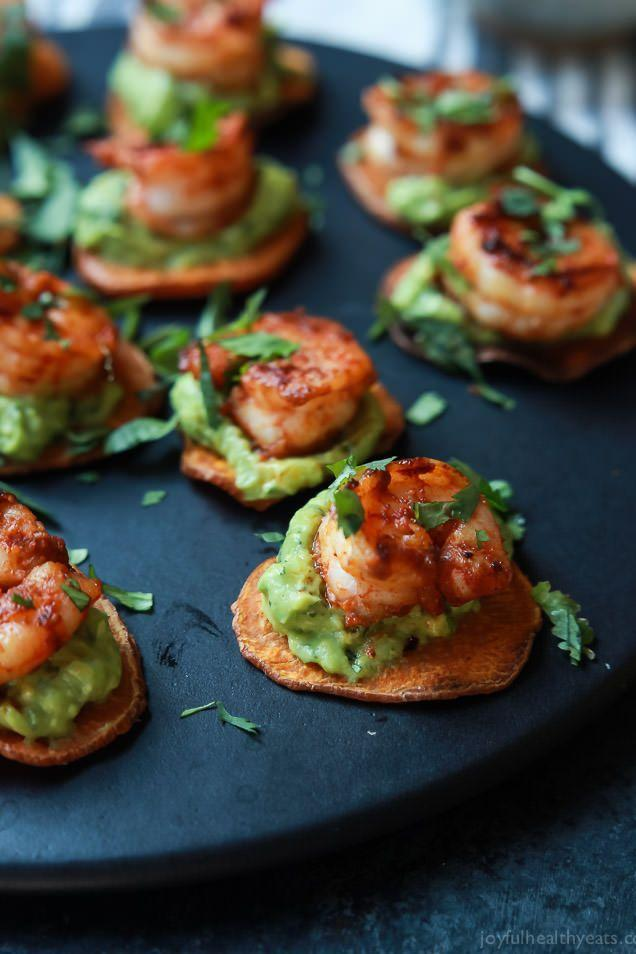 "<p><span class=""redactor-invisible-space"">Sweet potato, shrimp, guacamole, and 70 calories per serving is a beautiful combination, no matter the occasion. </span></p><p><strong>Get the recipe at <a href=""http://www.joyfulhealthyeats.stfi.re/cajun-shrimp-guacamole-bites/?sf=agaxnlp#ab"" rel=""nofollow noopener"" target=""_blank"" data-ylk=""slk:Joyful Healthy Eats"" class=""link rapid-noclick-resp"">Joyful Healthy Eats</a>.</strong></p>"