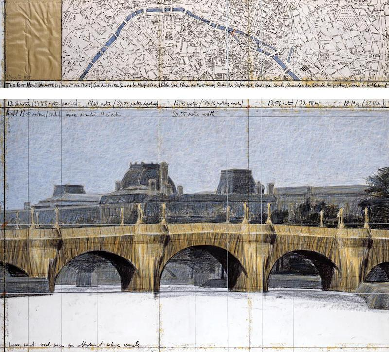 Christo and Jeanne-Claude's Plans for a similarly fabric-centered Pont Neuf installation.