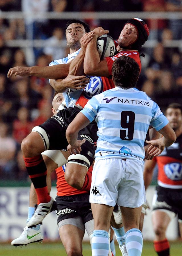 Toulon's South African flanker Joe Van Niekerk (R) vies with Racing Metro's French flanker Antoine Battut (L) during the French Top 14 rugby union play-off match RC Toulon vs. Racing Metro at the Mayol stadium on May 26, 2012 in Toulon, southern France. AFP PHOTO / GERARD JULIENGERARD JULIEN/AFP/GettyImages