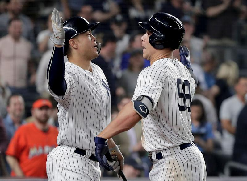 New York Yankees stars Giancarlo Stanton and Aaron Judge should have plenty to celebrate in 2019. (AP Photo/Julie Jacobson)