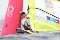 <p>FUJISAWA, JAPAN - JULY 26: Cavit Biriz Onur of Turkey rounds a mark in the Mens Windsurfer RSX on day three of the Tokyo 2020 Olympic Games at Enoshima Yacht Harbour on July 26, 2021 in Fujisawa, Kanagawa, Japan. (Photo by Phil Walter/Getty Images)</p>
