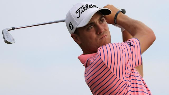 A number of players made early moves on day three at Erin Hills, including the brightly dressed Justin Thomas.