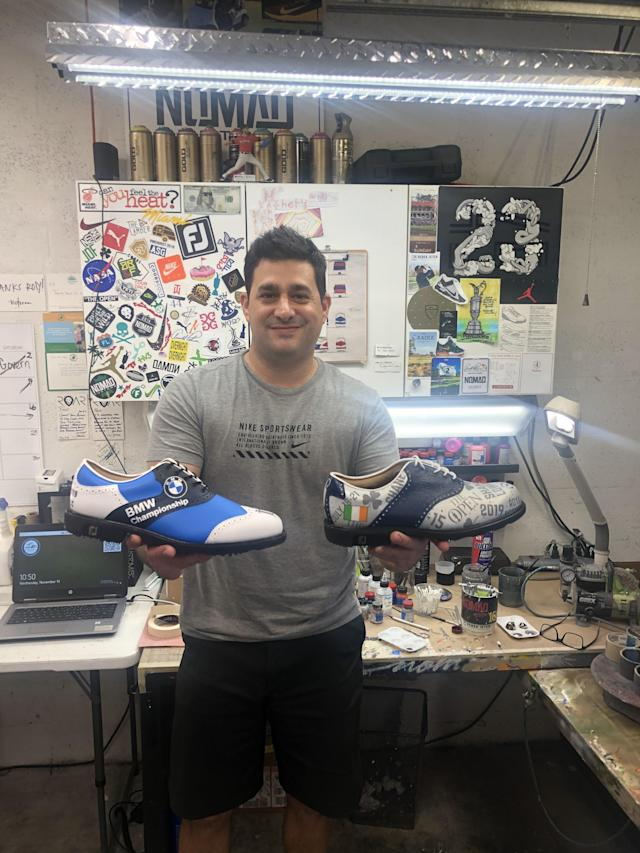 "<div class=""caption""> Padron holding some of his specially designed golf shoes. </div>"