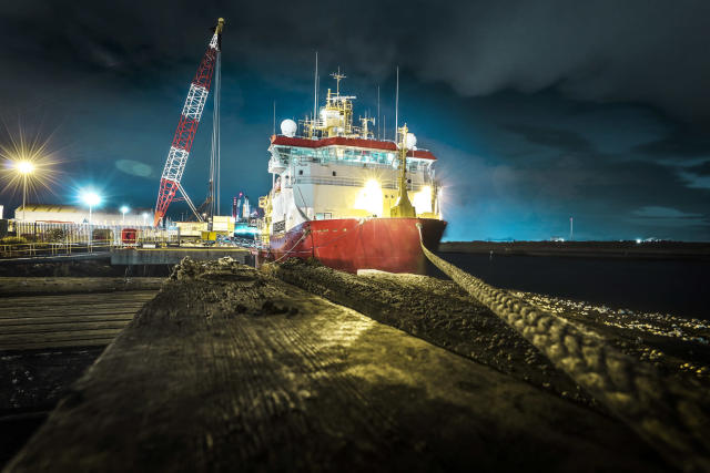 Image shows HMS Protector at night whilst alongside Teeside Docks in Middlesborough (Picture: UK MOD/Crown 2019)