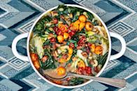"""Bump up the flavor of your greens with bacon, garlic, sweet cherry tomatoes, sherry vinegar, and honey. Then scatter a little chile on top before serving. <a href=""""https://www.epicurious.com/recipes/food/views/wilted-greens-in-tomato-bacon-broth?mbid=synd_yahoo_rss"""" rel=""""nofollow noopener"""" target=""""_blank"""" data-ylk=""""slk:See recipe."""" class=""""link rapid-noclick-resp"""">See recipe.</a>"""