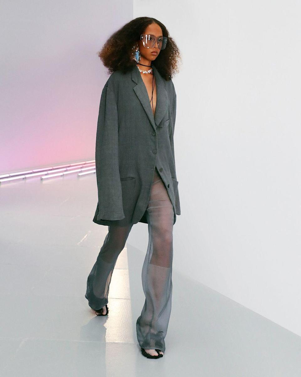 "<p>The eternal uniform of the bohemian hippie is free-flowing, whimsical, and unencumbered; clothes ought to be loose enough to allow for total freedom of movement, open and ready for whichever direction one decides to head in. Here, Acne Creative Director Jonny Johansson outfits the 2021 hippie, one who might attend ""gatherings for a spiritual moonrise,"" in slouchy pieces that are iridescent, pearlized, or otherwise apt to change when a moonbeam strikes. The solo print comes courtesy of L.A. artist Ben Quinn who tapped into his experiences with the supernatural to create a star image that is used on linen and organza. Even if full-moon parties aren't quite your thing, there are standouts: The silky, sheer layering pieces are divine, and an oversized blazer, made of suit jacket lining only, is the non-tailored tailoring you didn't know you needed. <em>—Leah Melby Clinton</em></p>"