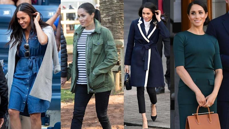 The Duchess of Sussex in J. Crew. (Images via Getty Images)