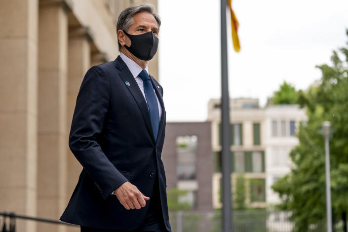 Secretary of State Antony Blinken walks towards members of the media to give a statement at the start of the Second Berlin Conference on Libya at the Ministry of Foreign Affairs in Berlin, Wednesday, June 23, 2021. Blinken begins a week long trip in Europe traveling to Germany, France and Italy. (AP Photo/Andrew Harnik, Pool)