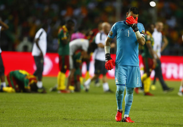 Football Soccer - African Cup of Nations - Final - Egypt v Cameroon - Stade d'Angondjé - Libreville, Gabon - 5/2/17 Egypt's Essam El-Hadary looks dejected after the game Reuters / Amr Abdallah Dalsh Livepic