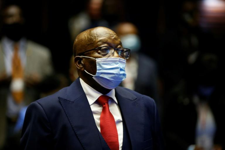 Zuma, pictured in May at his corruption trial in Pietermaritzburg. He faces 16 charges relating to the 1999 purchase of fighter jets, patrol boats and military gear (AFP/PHILL MAGAKOE)