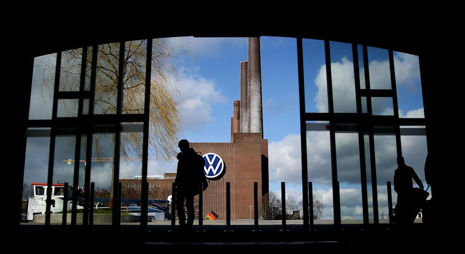"""The power plant at the headquarters of German car maker Volkswagen (VW) is pictured in Wolfsburg on February 28, 2020. - An important chapter in Volkswagen's years-long """"dieselgate"""" emissions cheating saga was set to close on February 28, 2020, as the German car giant agreed an 830 million-euro compensation deal with domestic consumer groups. """"We and the Federation of German Consumer Organisations (VZBV) have achieved a fair and verifiable settlement solution,"""" VW board member Hiltrud Werner said. (Photo by Ronny Hartmann / AFP) (Photo by RONNY HARTMANN/AFP via Getty Images)"""