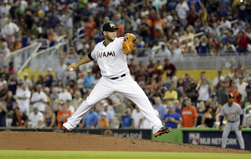 Miami Marlins' Henderson Alvarez pitches against the Detroit Tigers in the ninth inning of an interleague baseball game on Sunday, Sept. 29, 2013, in Miami. Alvarez pitched a no-hitter as the Marlins won 1-0. (AP Photo/Alan Diaz)
