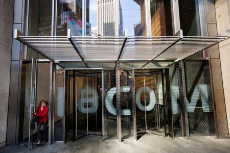 A woman exits the Viacom Inc. headquarters in New York