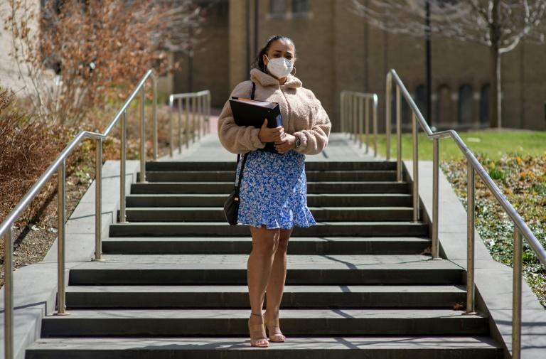 Elizabeth Medina, 38, who lost her sense of taste and smell after contracting Covid-19 in March 2020, is seen leaving an ENT appointment on March 22, 2021 in Manhattan