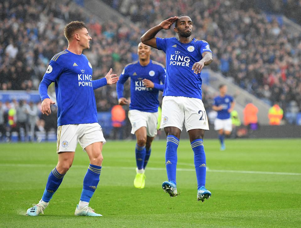 Ricardo Pereira celebrates after scoring his team's first goal. (Credit: Getty Images)