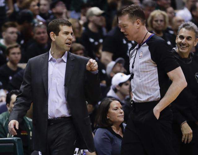Boston Celtics head coach Brad Stevens argues a call during the first half of Game 4 of an NBA basketball first-round playoff series against the Milwaukee Bucks Sunday, April 22, 2018, in Milwaukee. (AP Photo/Morry Gash)