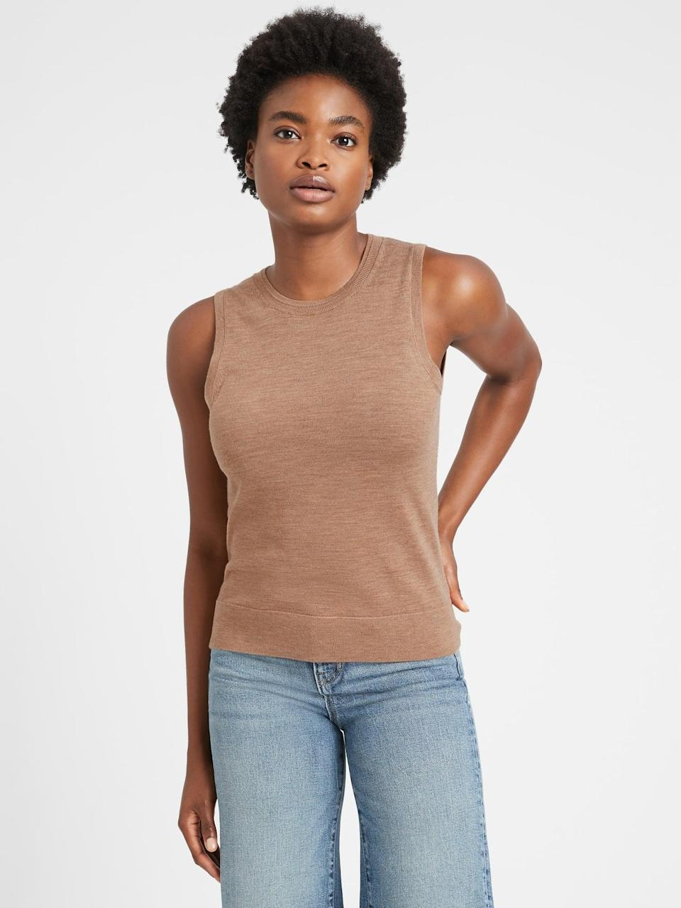 <p>The relaxed fit of this <span>Merino Shell in Responsible Wool</span> ($45, originally $65) makes it appropriate for everyday wear.</p>
