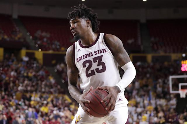 Arizona State forward Romello White (23) against Washington State during the second half of an NCAA college basketball game Saturday, March 7, 2020, in Tempe, Ariz. (AP Photo/Matt York)