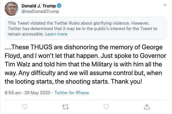 A screenshot of a tweet by U.S. President Donald Trump posted on May 29, 2020