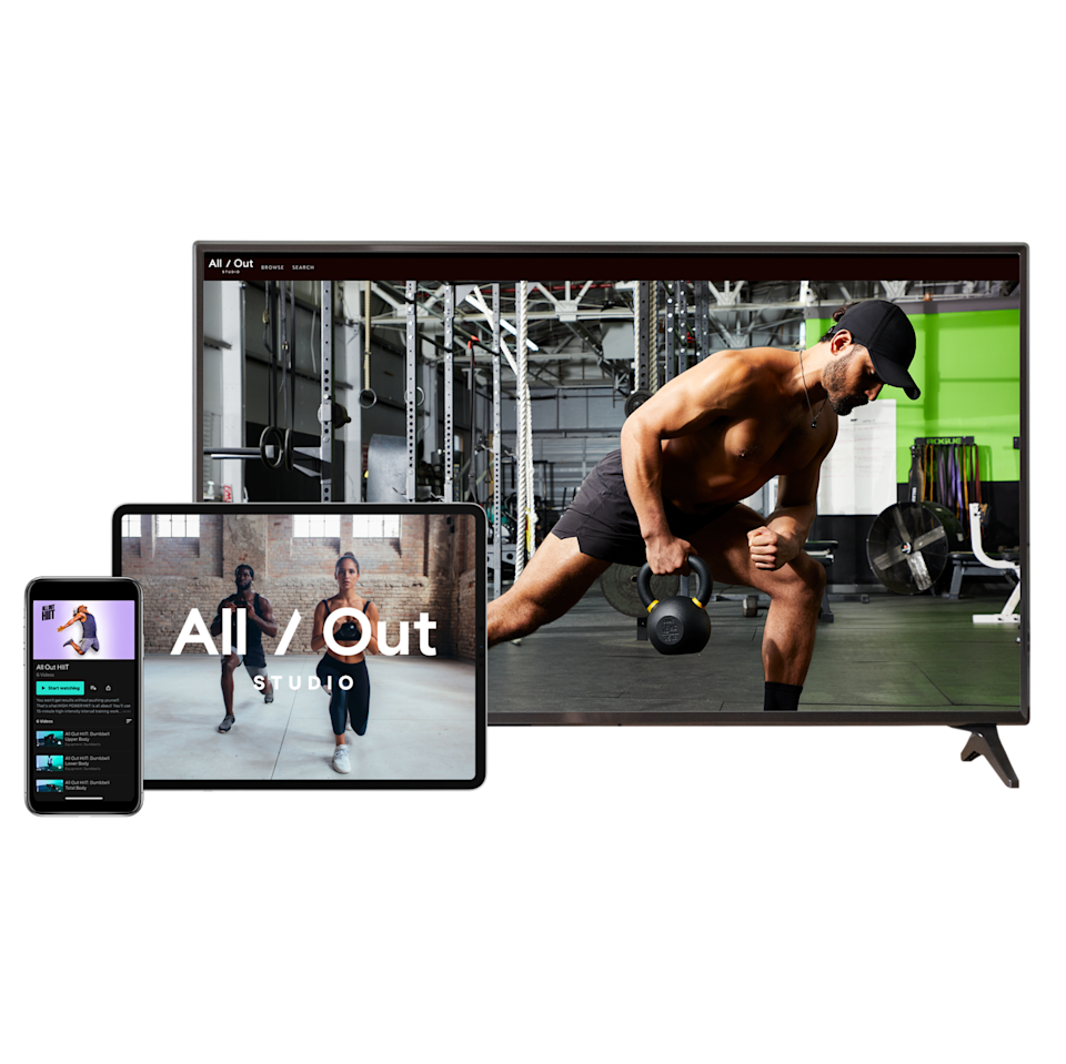 """<p><strong>All Out Studio</strong></p><p>alloutstudio.com</p><p><strong>$14.99</strong></p><p><a href=""""https://www.alloutstudio.com/"""" rel=""""nofollow noopener"""" target=""""_blank"""" data-ylk=""""slk:Shop Now"""" class=""""link rapid-noclick-resp"""">Shop Now</a></p><p>If Dad is looking for new ways to get in shape, All Out Studio has hundreds of workouts from us, plus our friends at <em>Men's Health</em> and <em>Runner's World</em>. Gift him a monthly membership—and agree to be his workout buddy, too!</p>"""