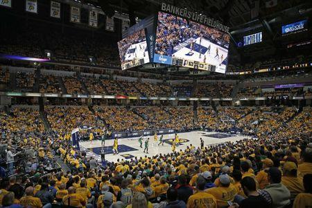 Apr 19, 2019; Indianapolis, IN, USA; A wide angle view of game three of the first round of the 2019 NBA Playoffs between the Indiana Pacers and the Boston Celtics during the fourth quarter at Bankers Life Fieldhouse. Mandatory Credit: Brian Spurlock-USA TODAY Sports
