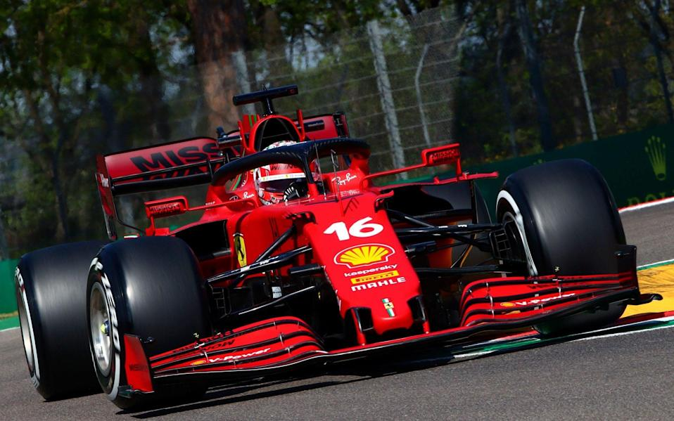 Monaco's Formula One driver Charles Leclerc of Scuderia Ferrari Mission Winnow in action during the first practice session of the Formula One Grand Prix Emilia Romagna at Imola race track, Italy, 16 April 2021 - DAVIDE GENNARI/EPA-EFE/Shutterstock