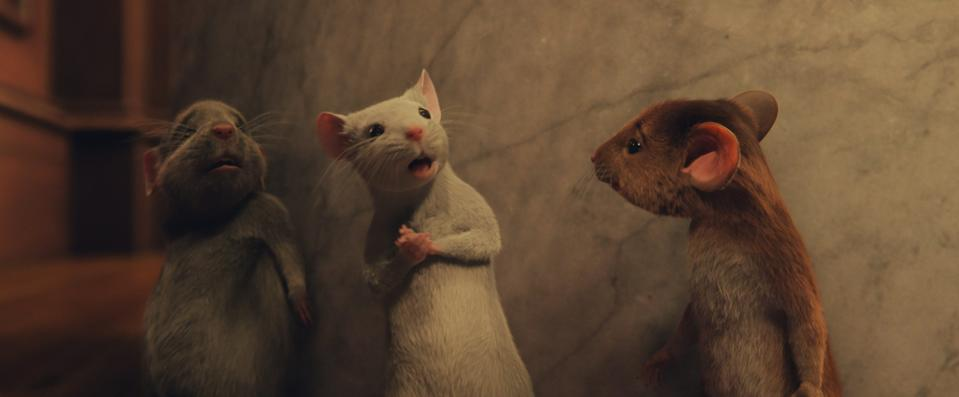 Hero Boy (Jahzir Bruno) is turned into a mouse (far right) by the Grand High Witch, joining fellow cursed creatures Bruno Jenkins (far left, voiced by Codie-Lei Eastick) and Daisy (Kristin Chenoweth).