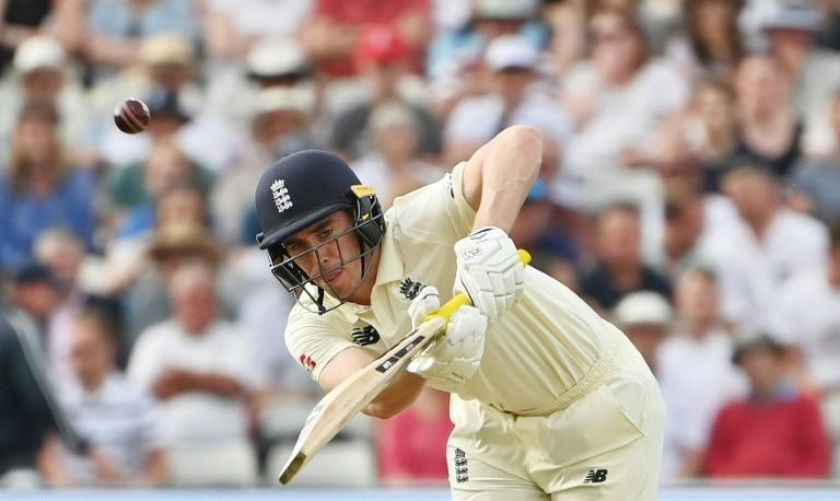 On the attack - England's Dan Lawrence made a valuable unbeaten fifty on Thursday