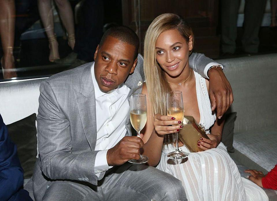 <p>The couple toasted to the 10-year anniversary of Jay-Z's club 40/40.</p>
