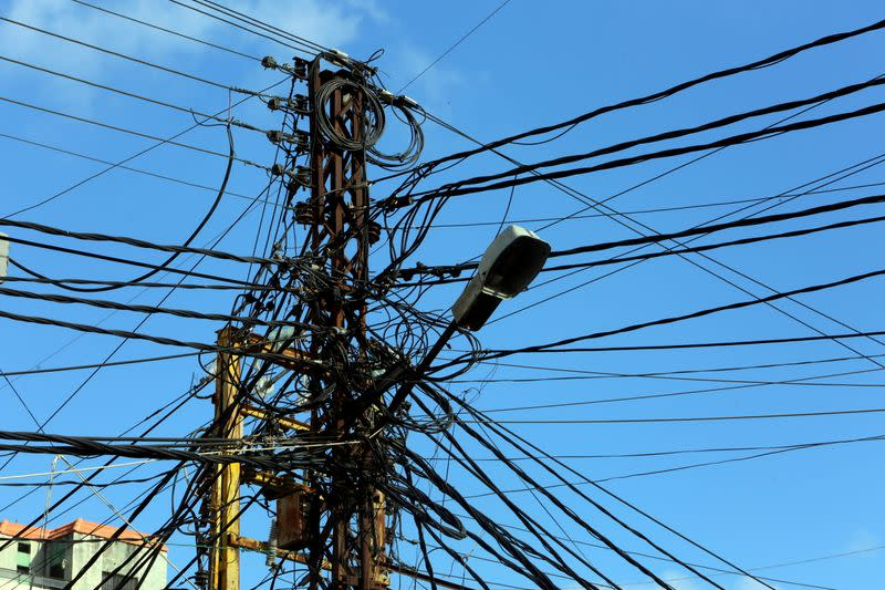 FILE PHOTO: Electricity cables are seen in Tyre