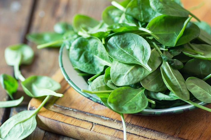 """<p>We'll spare you the Popeye jokes, but spinach has serious health muscles. For one thing, it's a rich source of lutein. Aside from guarding against age-related macular degeneration, a leading cause of blindness, lutein may prevent heart attacks by keeping artery walls clear of cholesterol. Spinach is also rich in iron, which helps deliver oxygen to your cells for energy, and folate, a B vitamin that prevents birth defects. </p><p><strong>Try it: </strong><a href=""""https://www.prevention.com/food-nutrition/recipes/a20511205/spinach-barley-salad/"""" rel=""""nofollow noopener"""" target=""""_blank"""" data-ylk=""""slk:Spinach Barley Salad"""" class=""""link rapid-noclick-resp"""">Spinach Barley Salad</a></p>"""