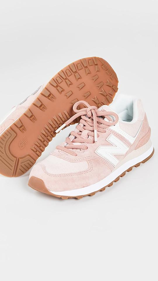 """<p>These pink <product href=""""https://www.shopbop.com/574-split-sail-sneaker-new/vp/v=1/1556546662.htm?folderID=13439&amp;fm=other-shopbysize-viewall&amp;os=false&amp;colorId=1A1CC&amp;ref_=SB_PLP_NB_16"""" target=""""_blank"""" class=""""ga-track"""" data-ga-category=""""Related"""" data-ga-label=""""https://www.shopbop.com/574-split-sail-sneaker-new/vp/v=1/1556546662.htm?folderID=13439&amp;fm=other-shopbysize-viewall&amp;os=false&amp;colorId=1A1CC&amp;ref_=SB_PLP_NB_16"""" data-ga-action=""""In-Line Links"""">New Balance 574 Split Sail Sneakers</product> ($80) will look so cute with a white dress.</p>"""