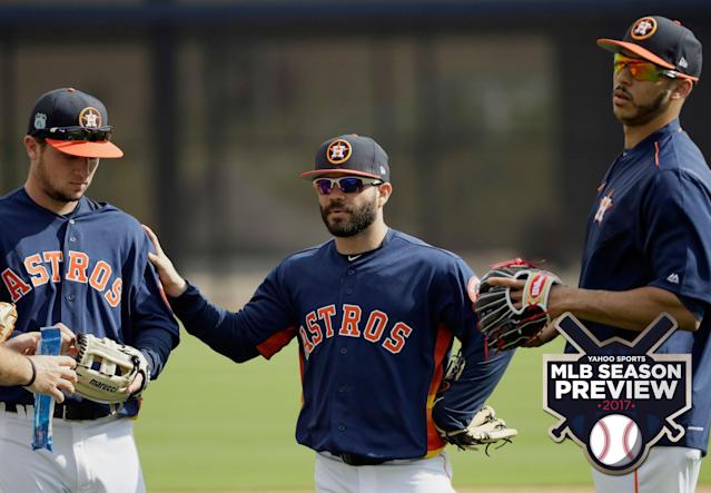 The Astros infield of Alex Bregman, Jose Altuve and Carlos Correa has tons of potential. (AP)
