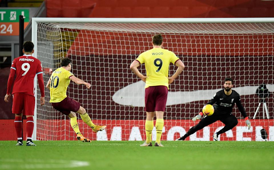 Ashley Barnes scores from the spotGetty Images