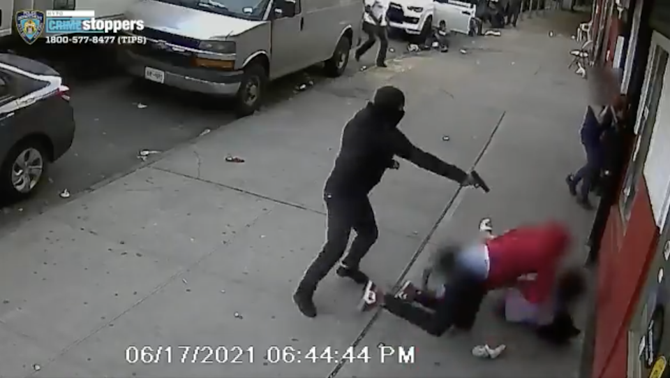 A masked assailant in the Bronx shot a man multiple times with two children in the line of fire (NYPD)