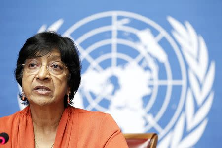 UN High Commissioner for Human Rights Pillay speaks during a news conference at the United Nations in Geneva