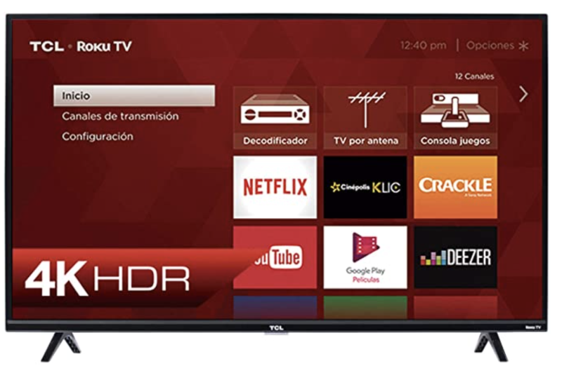 TCL Pantalla 55¨ 4K UHD Roku Smart TV. Foto: amazon.com.mx