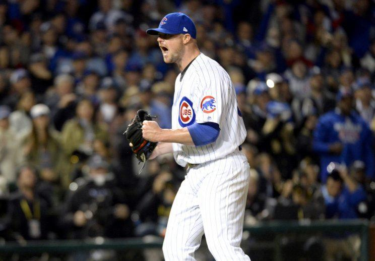 Jon Lester will start the Cubs championship defense Sunday night in St. Louis. (Getty Images)